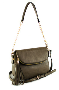 Solid And Tassels Flap Over Messenger With Chain Strap