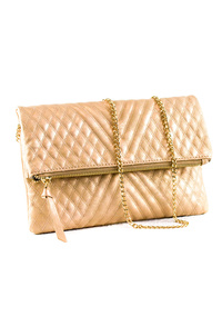 Metallic Quilted Flap Over Zipper Clutch With Chain Strap
