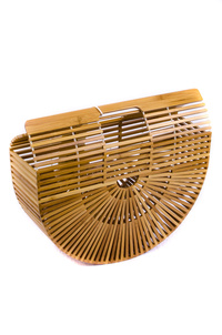Solid Bamboo Oval Shape Handbag