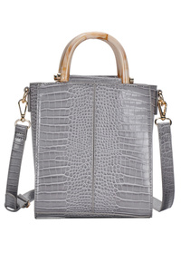 Solid Crocodile Wooden Handle Tote With Shoulder Strap
