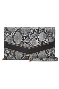 Solid And Snake Skin Cross Body With Strap
