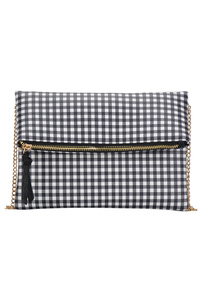 Plaid Printed Flap Over Zipper Pull Clutch With Chain Strap