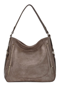 Solid Double Zipper Pocket Hobo Bag With Single Bag