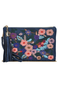 Flowers Embroidery With Tassel And Wrist Strap Clutch