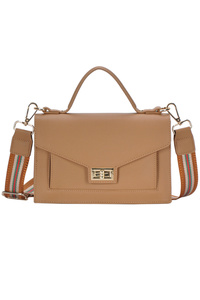 Solid Flap Over Messenger With Stripe Strap
