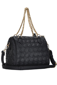 Solid Weaved With Tassel Satchel Bag With Chain Handle And Strap