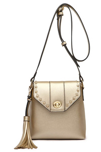 Solid Rhinestone Flap Over Messenger With Tassels