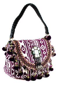 Bohemian With Tassels Flap Over Single Handle Satchel Bag