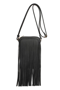 Long Fringed Messenger Bag With Zipper Closure