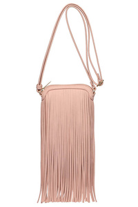 Restocked Long Fringed Messenger Bag With Zipper Closure