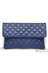 Solid Square Shaped Flap Over Zipper Pocket Clutch With Chain Strap