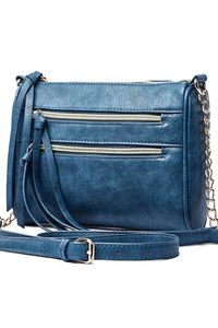 Solid Double Zipper Front Pocket Messenger Bag With Chain Strap