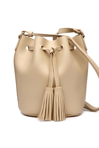Solid Bucket Style Draw String Bag With Shoulder Strap