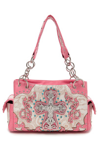 Cross And Various Stones Accented Double Pockets Satchel Bag