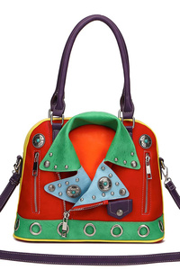 Restocked Colorful Jacket Inspired Satchel Handbag With Shoulder Strap