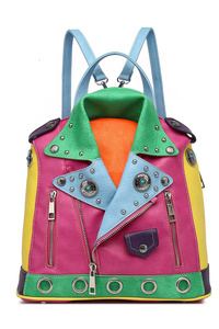 Restocked Colorful Jacket Inspired Backpack With 2 Front Zippers