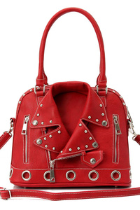 Jacket Accented Satchel Bag With Strap