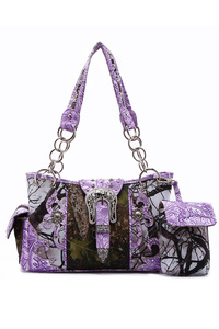 Western Cowgirl Fall Leaves Belt Clip Accented Two Side Pocket Satchel Bag