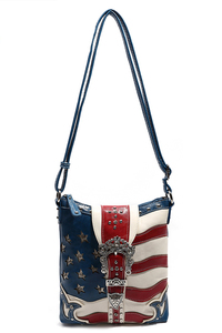 Restocked Western Cowgirl USA Flag Design Rhinestones Belt Cross Body Messenger Bag