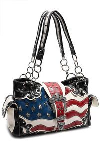 Restocked Western Cowgirl US Flage Belt Buckle Deco Two Side Pocket Satchel Bag
