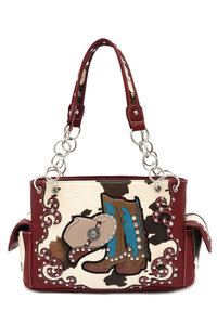 Western Cowgirl Hat and Boots Design Two Side Pocket Satchel Bag