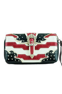 Western Cowgirl US Flag Belt Clip Zip Around Wallet