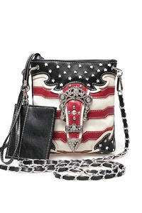 Restocked Western Cowgirl USA Flag Design Rhinestones Belt Messenger Bag