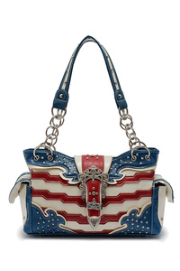 Western Cowgirl USA Flag Design Rhinestones Belt Two Side Pocket Satchel Bag