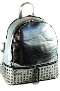 Solid Metallic Color With Studs Multiple Zipper Backpack