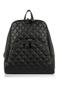 Quilted Front Zipper Fashion Backpack