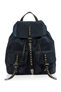Solid With Studs Accented Double Front Pockets Backpack