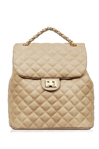 Quilted Flap Over Turn Lock Fashion Backpack