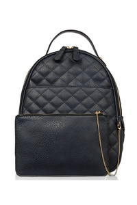 Solid Quilted Two In One Backpack And Pouch.