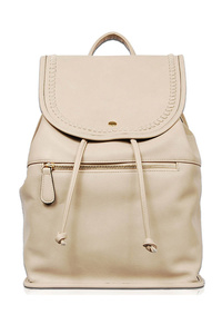 Solid Flap Over Front Zippered Drawstring Backpack