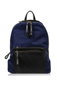 Two Tone Nylon Front Pocket Backpack
