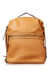 Solid Stitched Studs Accented Zipper Pull Backpack