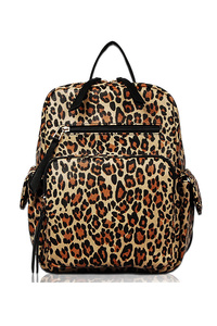 Leopard Printed Backpack With Two Side Pocket And Front Pocket