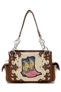 Western Cowgirl Boot And Studs Accented Satchel Bag
