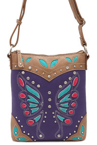 Best Seller Restock Western Butterfly Patch Embroidery Deco Messenger Bag