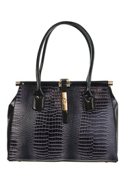 Crocodile Accented Center Metal Closure Double Handle Tote Bag