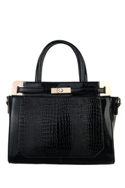 Shinny Crocodile Accented Top Handle Tote Bag With Strap