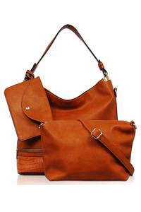 Three In One Solid Faux Leather Hobo, Messenger And Pouch