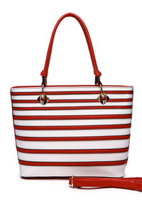 Stripe Double Handles Tote Bag With Shoulder Strap