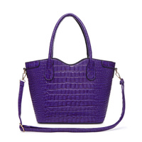 Solid Crocodile Tote Double Handle With Strap