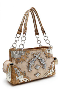 Restocked Western Cowgirl Gun And Rhinestones Accented Double Pocket Satchel Bag