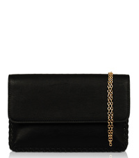 Solid Flap Over Stitched Edge Clutch With Chain Strap