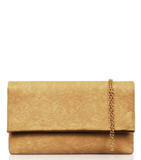 Solid Flap Over Metallic Clutch With Chain Strap