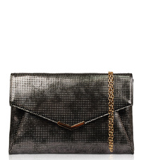 Solid Flap Over Metallic Textured Envelope Clutch With Chain Strap