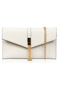 Solid Flap Over Chain Accented Clutch With Chain Strap