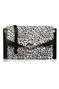 Flap Over Animal Print Center Ring Clutch With Shoulder Strap